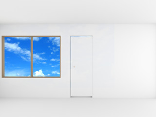 Empty room with window and door , clipping path, 3D rendering