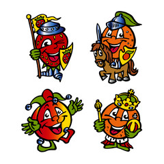 fruit mascot strawberry orange peach medieval horse knight king and jester funny clipart