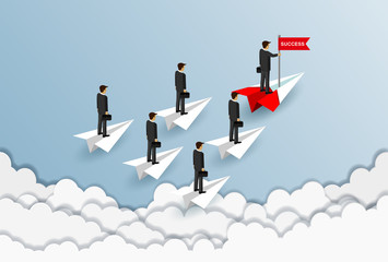 businessmen Stand on paper plane a red and white. One People Standing catch the red flag. Floating over the cloud go to achieve business success goals. business finance. leadership. cartoon vector