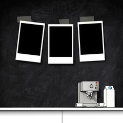 3d illustration sketch rendering of three blank instant photo frames on blackboard with coffee machine and table