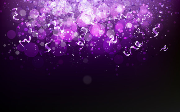 Magical violet stars falling with ribbons confetti, dust, glowing particles blurry scatter glitter blinking shine sparkle celebration award abstract background vector illustration