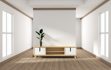 cabinet design, modern living room with white wall on white wooden floor. 3d rendering