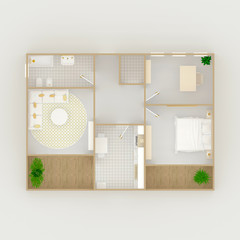 3d interior illustration rendering of furnished home apartment