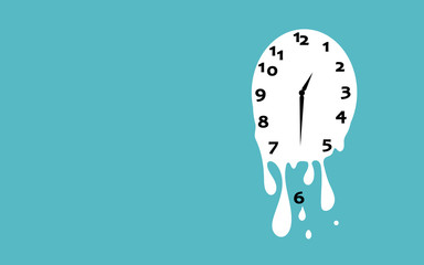 Obraz Melting clock flat design vector illustration on green background. - fototapety do salonu