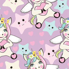 A pattern with small unicorns with wings on the background
