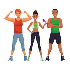 fit people doing exercise