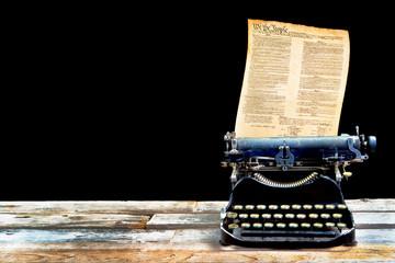 Antique Typerwriter and Constitution.