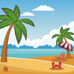 Beach scenery cartoon