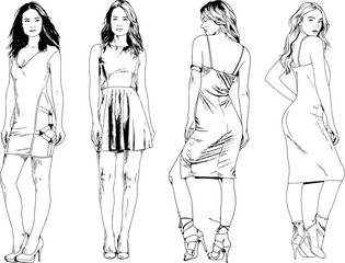 vector drawings on the theme of beautiful slim sporty girl in casual clothes in various poses painted ink hand sketch with no background