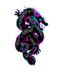 Black dragon with ornament details, 3D vector illustration background