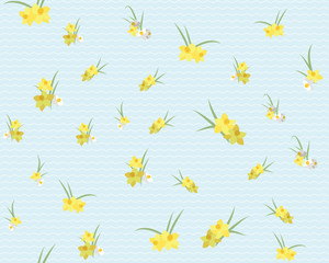 Floral narcissus retro vintage background, illustration