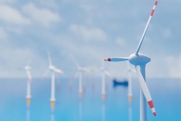 Wind turbines in the sea - 3d render illustrator