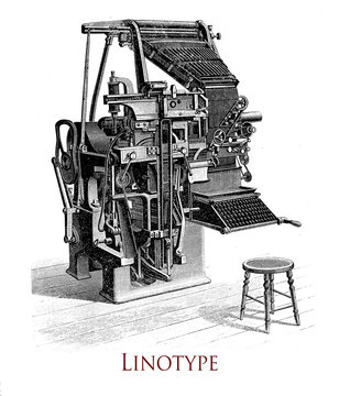 Linotype printing machine, it produces an entire line of metal type at once, significative improvement over the previous industry standard of  manual  letter-by-letter typesetting