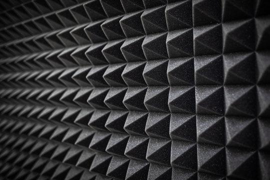 Foam soundproofing coating close-up. Recording studio details