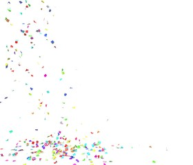 Bright and colorful confetti flying on the floor