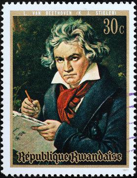 Portrait of Ludwig van Beethoven on postage stamp