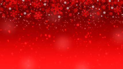 Christmas background with snowflakes, glitter and lights for winter holidays.
