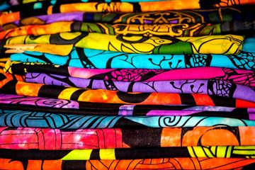 Colorful fabrics on a street market