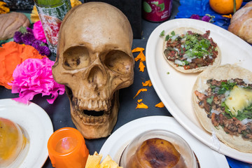 Altar with Skull and Tacos for Day of the Dead in Mexico City