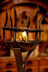 Oil lamp on a medieval street market