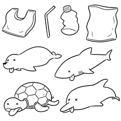 vector set of aquatic animal and plastic