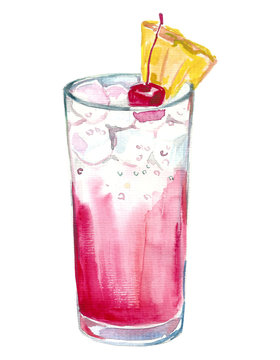 hand drawn graphic watercolor cocktail Sea Breeze Harvey Wallbanger Planter's Punch on white background