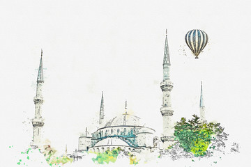 A watercolor sketch or illustration. The famous Blue Mosque in Istanbul is also called Sultanahmet. Turkey. Hot air balloon flies in the sky.
