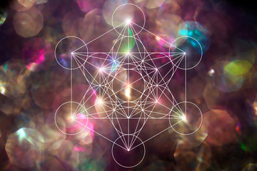 Abstract metatrone merkabah sacred geometry with lens blur effect
