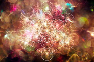 Mercabah Metatrone cube sacred geometry on bokeh background