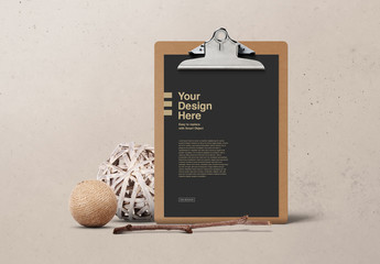 Paper on Wooden Clipboard Mockup