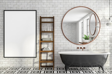 Brick bathroom interior, tub and poster