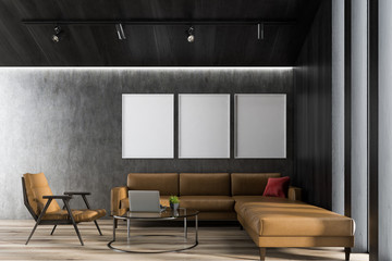 Gray living room with poster gallery
