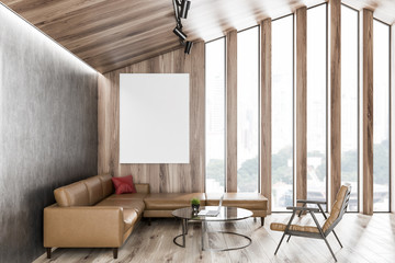 Wooden attic living room interior, poster