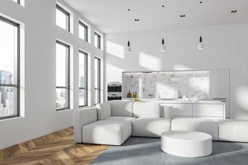 White living room and kitchen interior