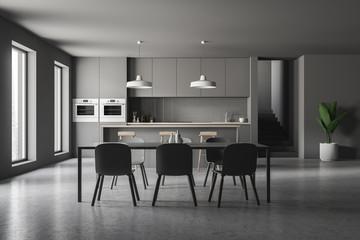 Gray kitchen interior, bar and table