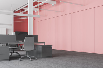 White and pink office with lockers