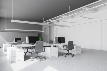 White tables office interior