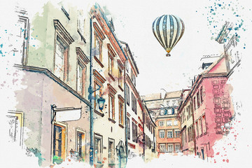 A watercolor sketch or illustration of a traditional street with apartment buildings in Warsaw, Poland. Hot air balloon flies in the sky.