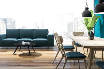 Panoramic living room, blue sofa