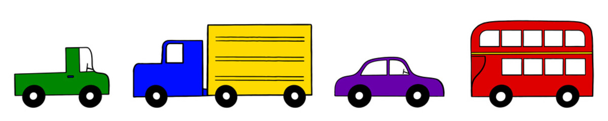 Set of Four Vector Vehicals in Primary Colors