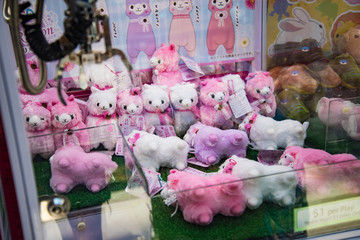 Cute Pink Toys in Claw Machine