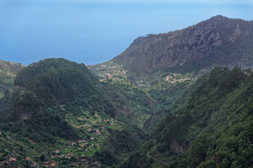 Aerial view at hills in Faial county on Portuguese island of Madeira