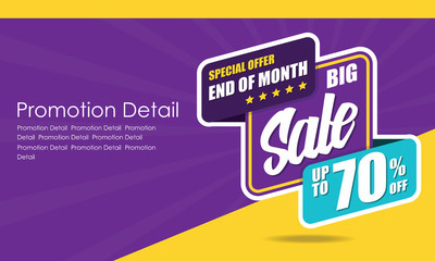 Sale banner template design, poster, Special Offer And Of Month, discounts, up to 70% off. Vector illustration. Store label. Communication poster