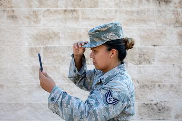 Soldier taking a selfie