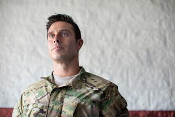 Soldier looking