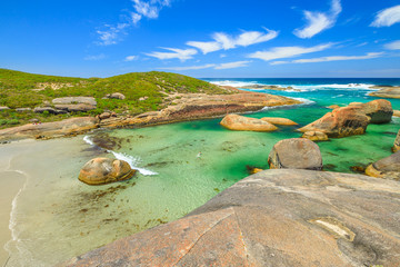 Australian travel summer destination. Aerial view of Elephant Cove Beach in William Bay National Park, Denmark, Western Australia. Summer season. Great Southern Ocean coastline. Sunny day, blue sky.