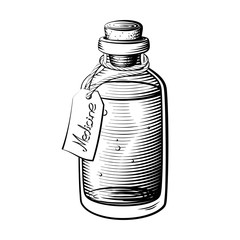 Small vintage bottle vector with label tag for medicine or essential oils.