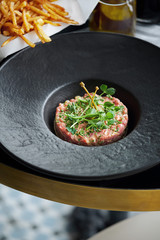 Beef tartare French fries matchsticks