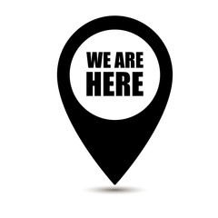 We are here map pointer icon isolated on white background. We are here map pin isolated on white background. Vector illustration