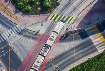 tram on railway in Dubai city, Aerial view